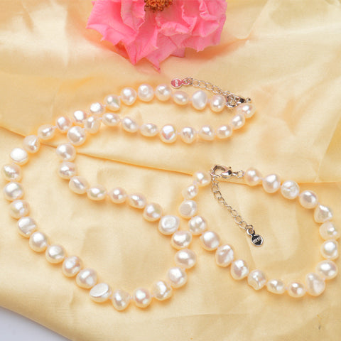 White 9-10mm Natural pearl Jewelry Sets Real Freshwater pearl Necklace Handmade Bracelet for women New Arrivals