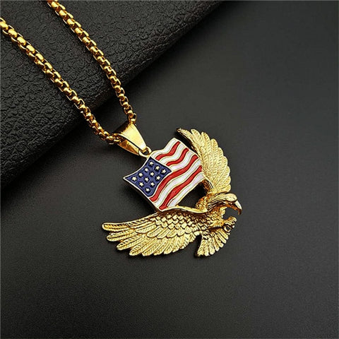 American Flag Eagle Necklace Statement Jewelry Gold Color Stainless Steel Hawk Animal Charm Pendant & Chain For Men