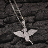 Angel Wing Necklace & Pendant Stainless Steel Chain & Cuban chain AAA+ Iced Out Cubic Zircon Men's Women Hip Hop Rock Jewelry