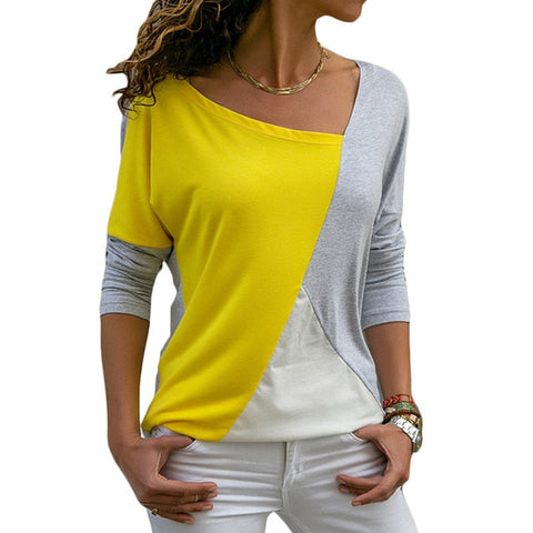 Spring Autumn Women Long Sleeve T-Shirt Fashion Patchwork Color Block Shirt Cotton Casual Loose Tops Elegant Ladies Office T-Shirt
