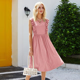 Autumn Elegant Women Dress Casual Elasticity Waist Patchwork Ruched Sleeveless Tank Midi Dress Party O-neck Vestidos Robe Femme