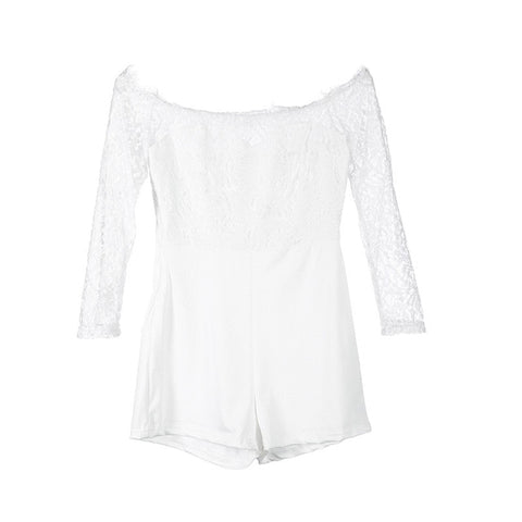 Women ladies summer autumn off shoulder sexy playsuits fashion long sleeve sheer lace patchwork hollow bandage skinny playsuits