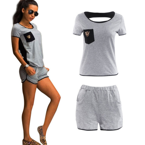 Women' t-shirt+shorts set back hollow short-sleeved casual top suit