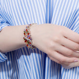 BeaQueen Sterling Silver 925 Summer Cute Crystal Jewelry Big Flower Cluster Colorful CZ Stone Bracelet for Women B055