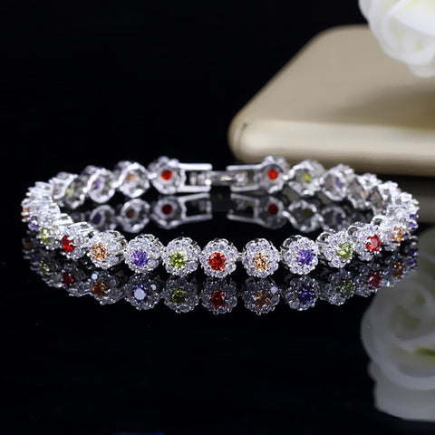 BeaQueen Trendy Green and White Cubic Zirconia Stone Setting Ladies Tennis Bracelets Silver 925 Jewelry for Women B100