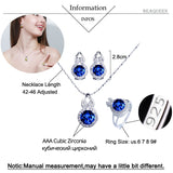 BeaQueen Trendy Ladies Sterling Silver 925 Jewelry Sets Round Blue Sapphire Cubic Zirconia Necklace Earring and Ring Set JS012