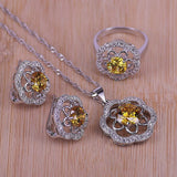 Best Gift Wedding Jewelry For Women 925 Stamp Silver Color Jewelry Set Sparking Yellow Crystal Necklace Pendant Earrings Ring