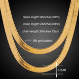 Brand Necklace Long/Choker 10MM Vintage Casual Gold Color Hip Hop Chain For Men Jewelry Maxi Necklace