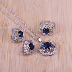 Bridal 925 Stamp Silver Color Jewelry Sets Blue Zirconia Stone Earrings For Women Wedding Jewelry With Ring Pendant Necklace Set