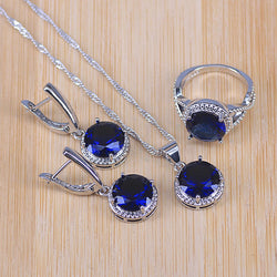 Bridal 925 Stamp Silver Color Jewelry Sets Blue Zirconia Stone Earrings For Women Wedding Jewelry With Ring Pendant Necklace