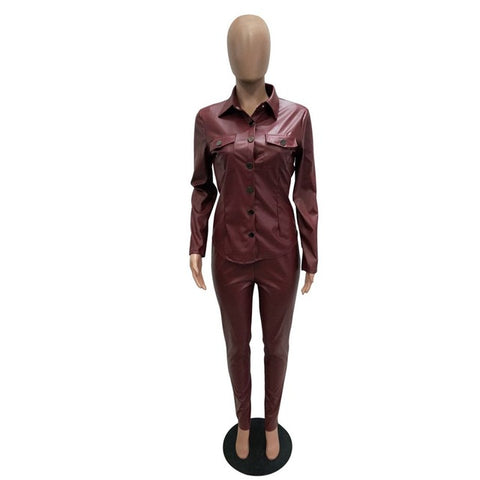 Sexy Two Piece Set Women Plus Size PU Leather Long Sleeve Top and Bodycon Pant Suit