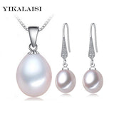 YIKALAISI freshwater Pearl necklace Sets pendant drop earrings 925 sterling silver jewelry