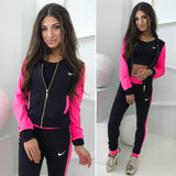 Women's zipper 3 piece set Fashion printing solid color casual sports suit