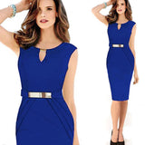 BUYBAY PHILIPPE  Spring and Summer New Metal Buckle Sexy V Collar Dress Temperament Pencil Work Office Women Dresses
