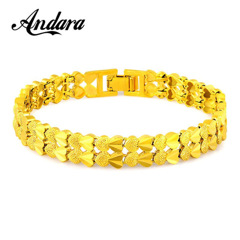 Christmas Gift Real 24k Gold Color Heart Charm Bracelet Trendy Jewelry For Women