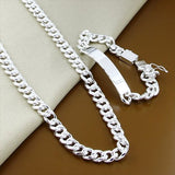 Classic Men Jewelry Set 925 Sterling Silver 10mm Hip Hop Chain Necklace Bracelet for Male