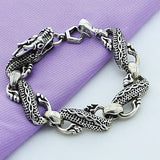 Classic Vintage 925 Sterling Silver Black Chinese Dragon Chain Bracelets For Men Male Jewelry High Quality