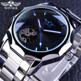 Winner Blue Ocean Geometry Design Transparent Skeleton Dial Mens Watch Top Brand Luxury Automatic Mechanical Watch Clock