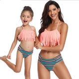 Mother And Daughter Swimsuit 2020 Family Look Mommy and Me Clothes Bikini Tassel Mom Daughter Swimwear Family Matching Clothes