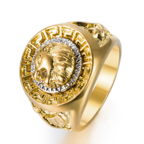 Men's Punk Lion Head Gold Ring