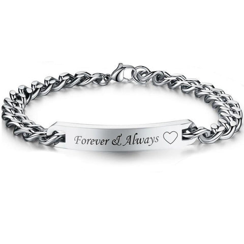 Couple Bracelets  Always & Forever Named Bracelets For Women Men Matching Couples Bracelets  Jewelry Link Chain - Markand Design