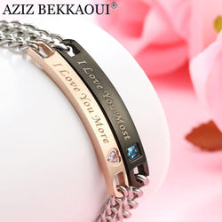 "Couple Bracelets"" I Love You Most"" & "" I Love You More"" Crytal Heart Charm Bracelets For Women Men Stainless Steel - Markand Design"