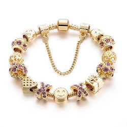 Fashion Jewelry Crystal Heart Beads Bracelet Gold European Diy Charm Bracelets & Bangles