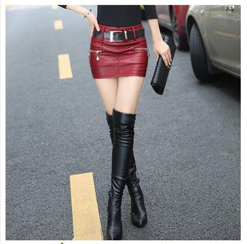 2018 Autumn Winter women Sexy show thin Slim Hip PU leather skirt Hip S-XL Size(NO belt) - Markand Design