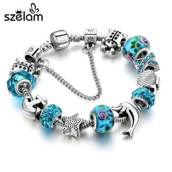 Ocean Style European Crystal Charm Bracelet For Women With Star Anchor Dolphin Beads - Markand Design