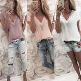 Women Blouse Tops Summer Top Casual Loose Short Sleeve Solid Lace V-neck Chiffon Blouses
