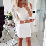 Sexy Off Shoulder Lace Patchwork Mini Dress Female Spring Siold Three Quartert Sleeve Bodycon Dresses