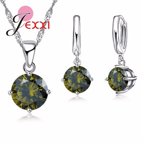 Elegant Austrian Crystal Women Jewelry Sets For Birthday Anniversary 925 Sterling Silver Pendant Necklace Earrings Set