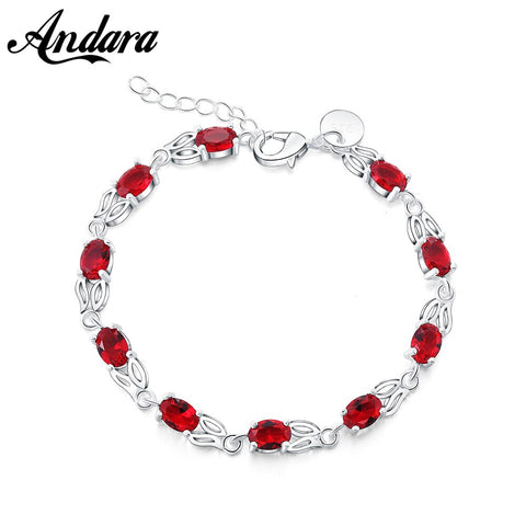 Exquisite 925 Sterling Silver Bracelet Red Zircon Woman Bracelet High Jewelry Gift