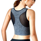 Women Breathable Mesh Sports Bras Shockproof Padded Athletic Gym Running Bra Solid Seamless Fitness Yoga Sport Tops