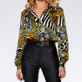 Going Out Multicolor Ornate Print Collar Long Sleeve Shirt Pullovers Top Autumn Modern Lady Women Tops