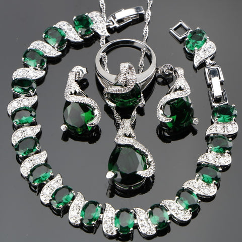 Green Zircon Bridal Silver 925 Jewelry Sets Women Charms Bracelets Pendant&Necklace Rings Earrings With Stones Set Gift Box