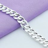 High Quality 10MM 20cm Sideways Chain Bracelet Men 925 Sterling Silver Jewelry Link Chain Bracelet For Male