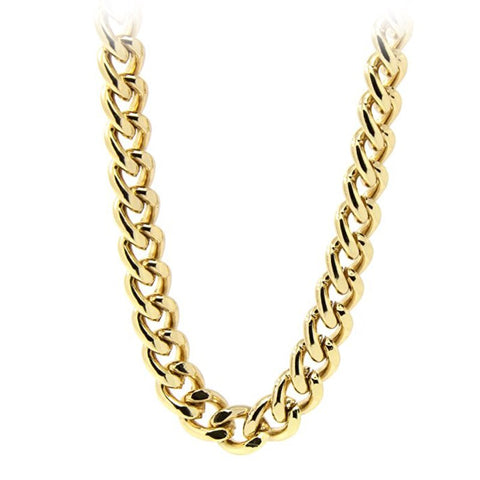 High Quality Heavy 10mm Men Necklace Chain 24k Gold Filled Fashion Jewelry Cuban Chain Necklaces For Male
