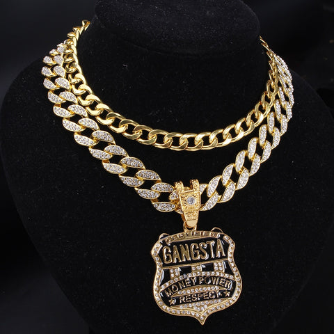 "Hip Hop Gold Medal & 16"" Cuban Chain & Bling Glittered Full Iced Out Miami Curb Cuban Choker Chain Men Rock Necklace Jewelry Set"
