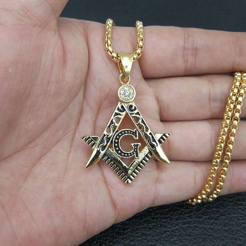 Hip Hop Stainless Steel Masonic Symbol Necklaces & Pendants For Women/Men Gold Color Free-mason Fashion Jewelry Dropshipping