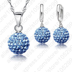 Hot New Jewelry Sets 925 Sterling Silver Austrian Crystal Pave Disco Ball Lever Back Earring Pendant Necklace Woman
