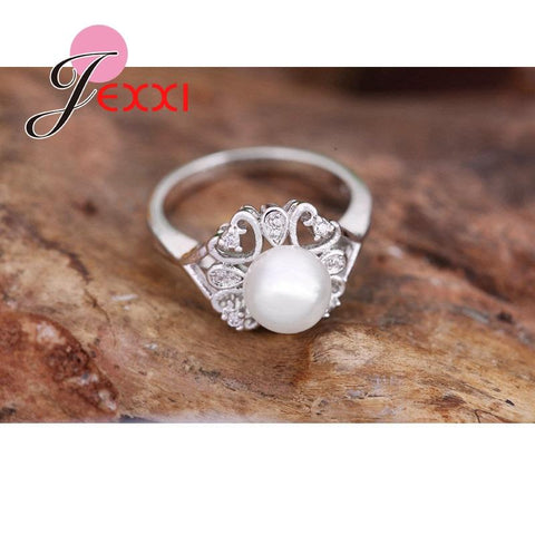925 Sterling Silver Heart Shape Imitation Pearl Wedding Engagement Rings For Woman Fashion Finger Rings Bridal Jewelry - Markand Design