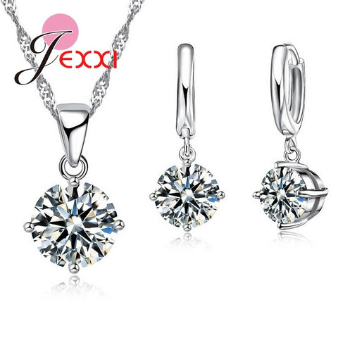 Elegant Austrian Crystal Women Jewelry Sets For Birthday Anniversary 925 Sterling Silver Pendant Necklace Earrings Set - Markand Design