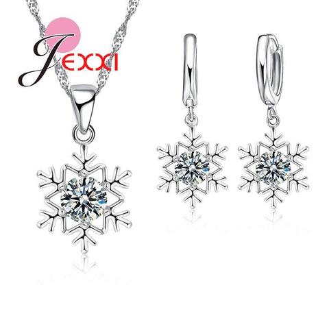 Elegant Romantic Snowflake Pendant Crystal Decoration Fashion Silver Chain Necklace Earrings Set Women Christmas Jewelry - Markand Design