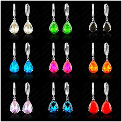 Fashionable Water Drop AAA Zircon Crystal Woman Lever Back Loop Earrings 925 Sterling Silver White Gold Color Jewelry - Markand Design