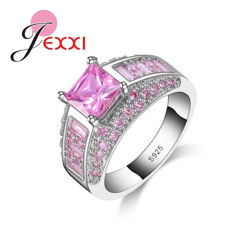 Hot New Bridal Jewelry Elegant Princess Cut Pink CZ   925 Sterling Silver Wedding Engagement Rings For Women