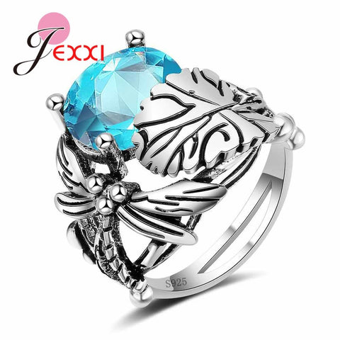 Retro 925 Sterling Silver Party Rings For Women Girls Accessory Oval Crystal Bridal Wedding Promise Ring Jewelry