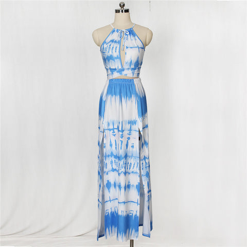 Sexy Two Pieces Print Summer Women Maxi Dresses Spaghetti Strap Crop Top Long Slit Dress Vestidos