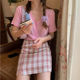 Korean Colored Plaid Skirt Women Student Chic Short Skirts Fashion Sexy Mini Skirts Spring Summer Female Skirts