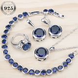Ladies Silver 925 Jewelry Sets For Women Blue Cubic Zirconia Rings/Bracelets/Earrings/Pendant Necklace Set Free Gift Box